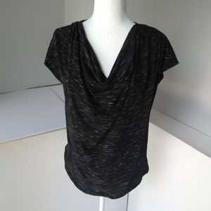 Mossimo | Cowl Neck Top Black/White Space Dye Med